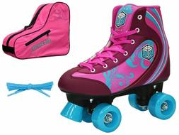 New! Epic Pink Cotton Candy Quad Roller Skates 3 Pc. Bundle