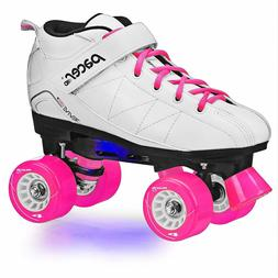 NEW! Pacer Revive Light Up White/Pink Women's 5 Roller Skate