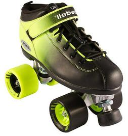 NEW! Riedell Dart 2 Tone Blk & Green Ombre Quad Roller Speed
