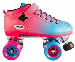 NEW! Riedell Dart 2 Tone Pink & Blue Ombre Quad Roller Speed