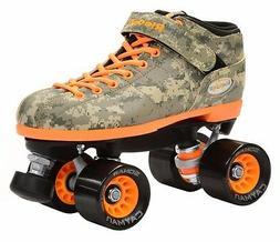 New Riedell R3 Green & Orange Digital Camo Quad Roller Derby