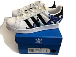 New Adidas Superstar W Womens B28014 White Black Blue Leathe