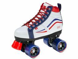 New! Chaya Vintage Glide White Red & Blue Quad Roller Skates