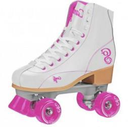 New! White & Pink Candi Girls Sabina High Top Quad Roller Sk
