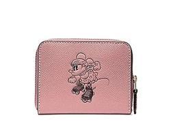 New Coach X DISNEY Minnie Mouse Pink  Corner Zip Leather Wri