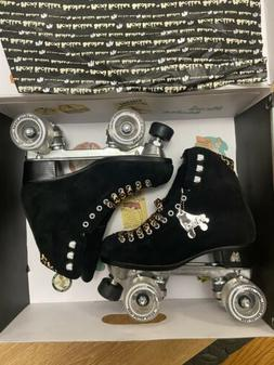 Moxi Panther Roller Skates Black Suede Riedell Lolly Size 6