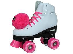 Epic Skates Pink Princess Girls Quad Roller Skates, White, J