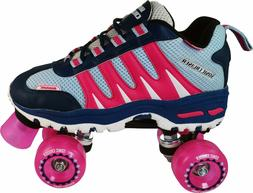 Pacer Pink Sonic Cruiser Outdoor Quad Roller Skates Pink Whe