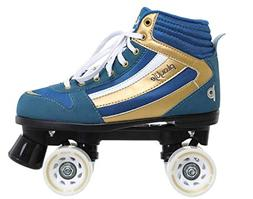 Chaya New! Playlife Groove Blue & Gold Indoor/Outdoor Quad R