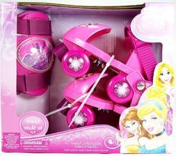 Disney Princess Rollerskates with Knee Pads, Junior Size 6-1