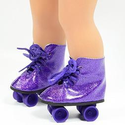 Purple Glitter Roller Skates for 18 Inch Dolls - Roller Skat