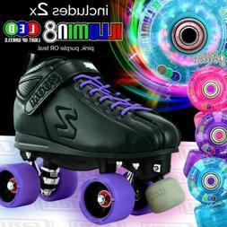 PURPLE  Zoom Speed Skate Roller Skates with 2 BRIGHT LED Gli