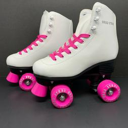 Skate Gear Quad Roller Skates Adult Woman Size 4 White & Pin