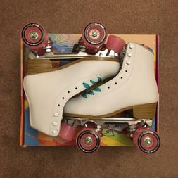 Impala Quad Roller Skates | White w/ Pink & Turquoise | Size