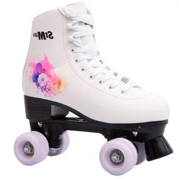 Quad Skates Purple Flower for Women Size 8 Adult 4-Wheels
