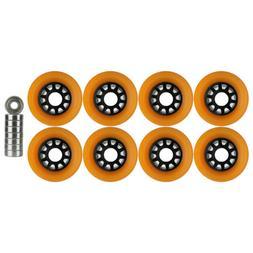 Quad Wheels Derby Roller Skate 63mm x 43mm Orange With Beari