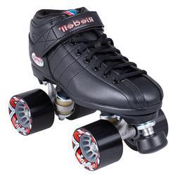 RIEDELL R3 Black Roller Skate Set Derby Speed Skates Quad Ro