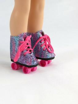 "Rainbow Roller skates Fits Wellie Wisher 14.5"" American Girl"