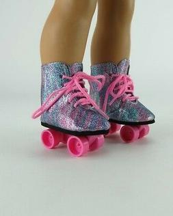 Rainbow Sparkle Roller Skates With Pink Ties for American Gi