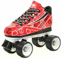 Pacer Red Heart Throb Graffiti Quad Roller Speed Skates with
