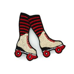Roller Derby Skates Iron On Embroidered Patch - Red and Blac
