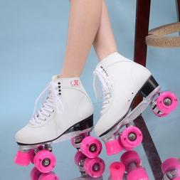 Roller Double Skates Pulleys Shoes Women Polyurethane Pink W