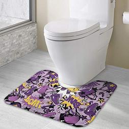 """DaXi1 Roller Skate Bath Rug - 19"""" X 16"""" U-Shaped Toilet Floo"""