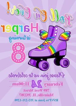 Roller Skate Invitation, Rainbow, Girl, Party, Birthday, Inv