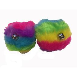 Roller Skate Tie-on Pom Poms with Jingle Bells - Rainbow - S