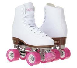 Chicago Roller Skates, Quad Skates, Women's Size 8, White/Pi