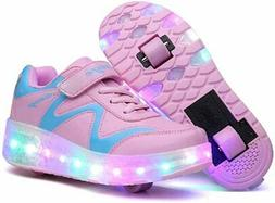Nsasy Roller Skates Shoes Girls, 686-pink-double Wheel,  Siz