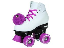 Epic Skates Purple Princess Girls Quad Roller Skates, White,