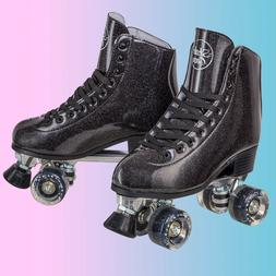 Sparkly Roller Skates for Indoor & Outdoor Skating, Faux Lea