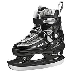 Lake Placid Summit Boys Adjustable Ice Skate, Black/White, M