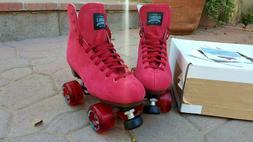 Sure-Grip Boardwalk Outdoor Roller Skates in Red Suede, Men'