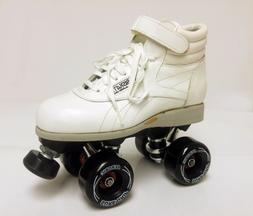 Sure-Grip/ Riedell WHITE AEROBISKATE Vintage Roller Skates -