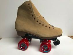 Tan Suede Roller Skates Various Defects