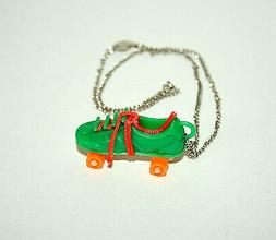 Toy Vending Prize Green Roller Skates Skate Necklace Pendant