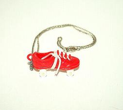Toy Vending Prize Red Roller Skates Skate Necklace Pendant 1