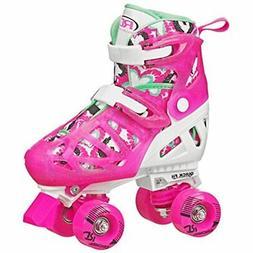 Trac Star Girl's Adjustable Roller Skate, White/Pink, Large