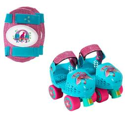 PlayWheels Trolls Kids Roller Skates with Knee Pads Junior S