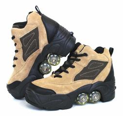 UNIQUE Quad KICK ROLLER Skates 4wheels retractable Beige Lea