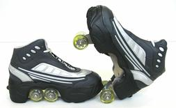 Quad KICK ROLLER Skates retractable WALKnROLL NWB blk/grey S