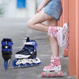 Unisex PU Wheel Adjustable Roller Blades Inline Skates Indoo