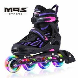 2pm Sports Vinal Girls Adjustable Flashing Inline Skates All