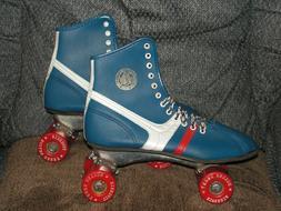 """Vintage 70s ROLLER DERBY """"Fireball"""" Roller Skates Blue/R"""