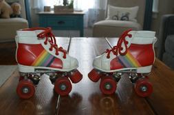 Vintage Children's Rainbow  Roller Skates Size 8