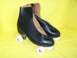 Vintage NOS 1985 Riedell Black Leather Roller Skates, Size 1