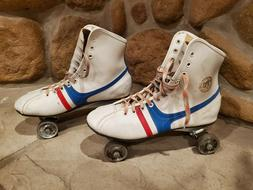 Vintage Official Roller Derby Fireball White Leather Roller