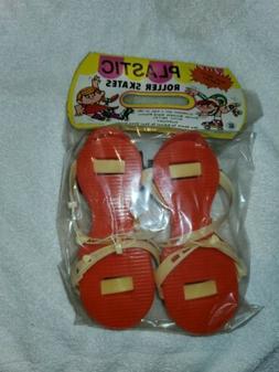 Vintage Plastic Roller Skates Made In Hong Kong Rack Toy Red